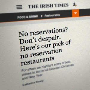 Listed in Catherine Cleary's pick of no reservation restaurants